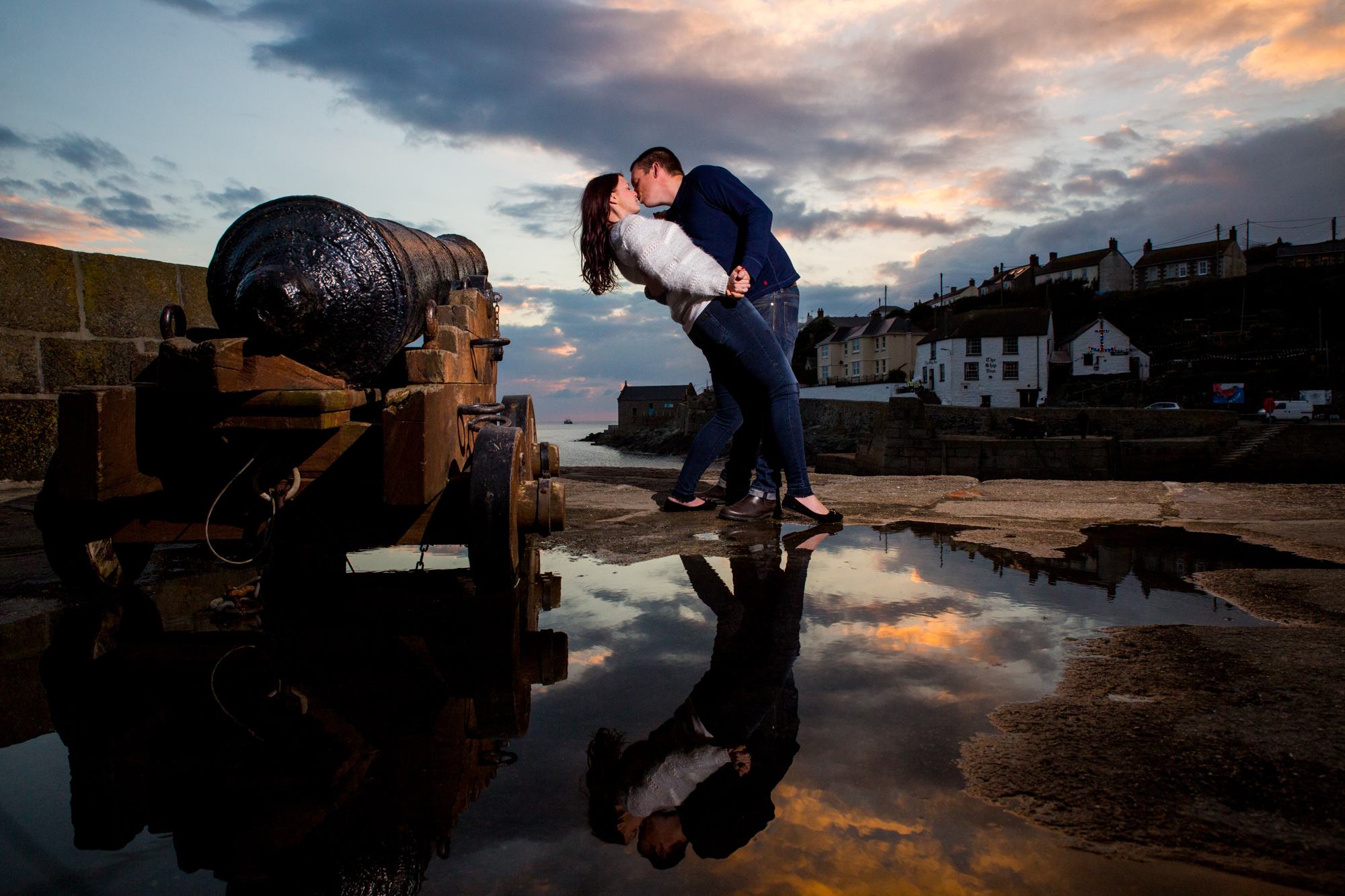 porthleven wedding photographer at sunset