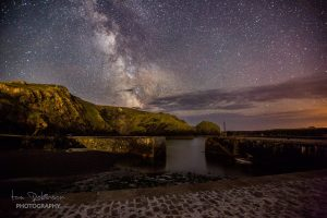 Mullion Cove harbour by night