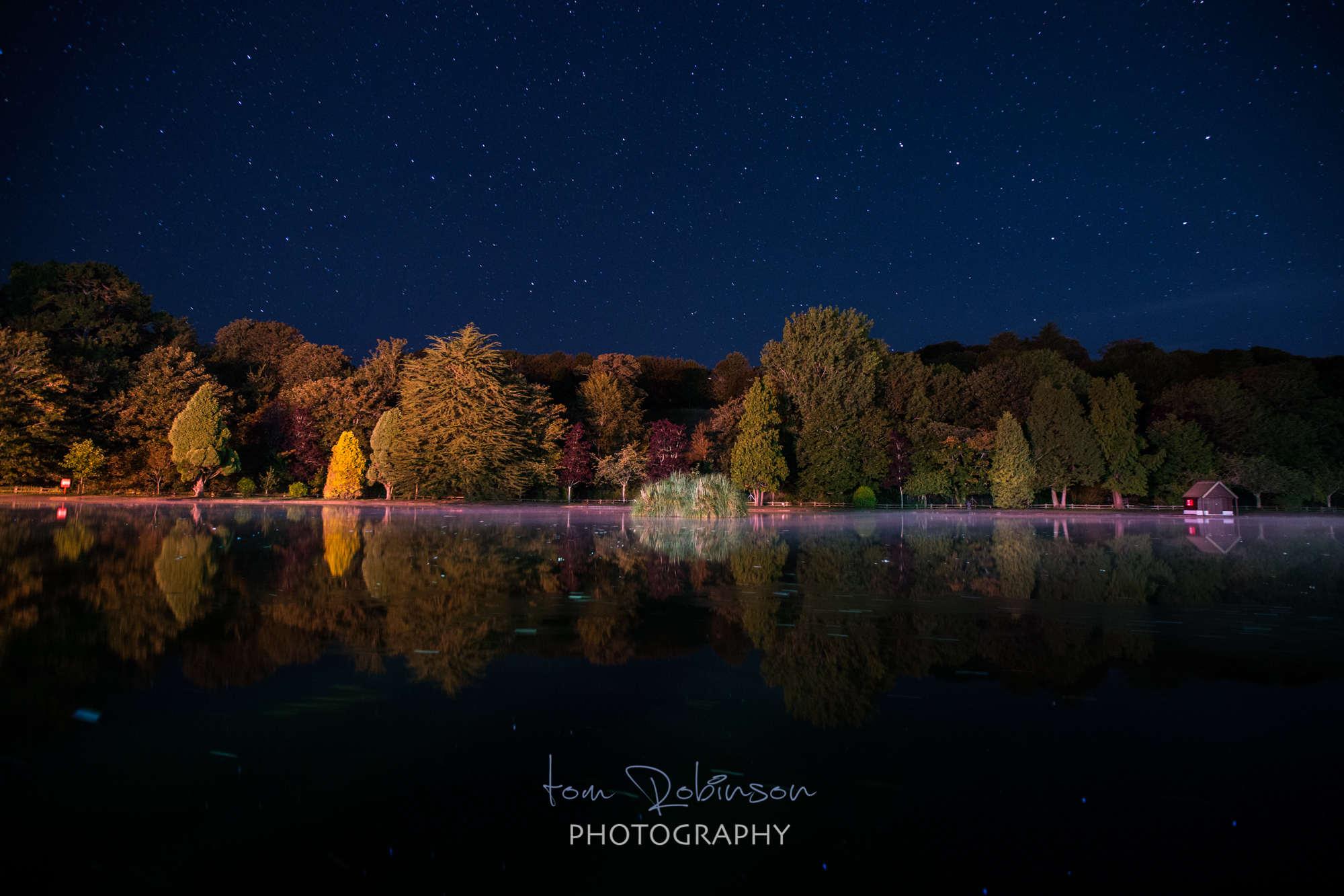Helston boating lake by night from the Cornwall by night collection by Tom Robinson Photography