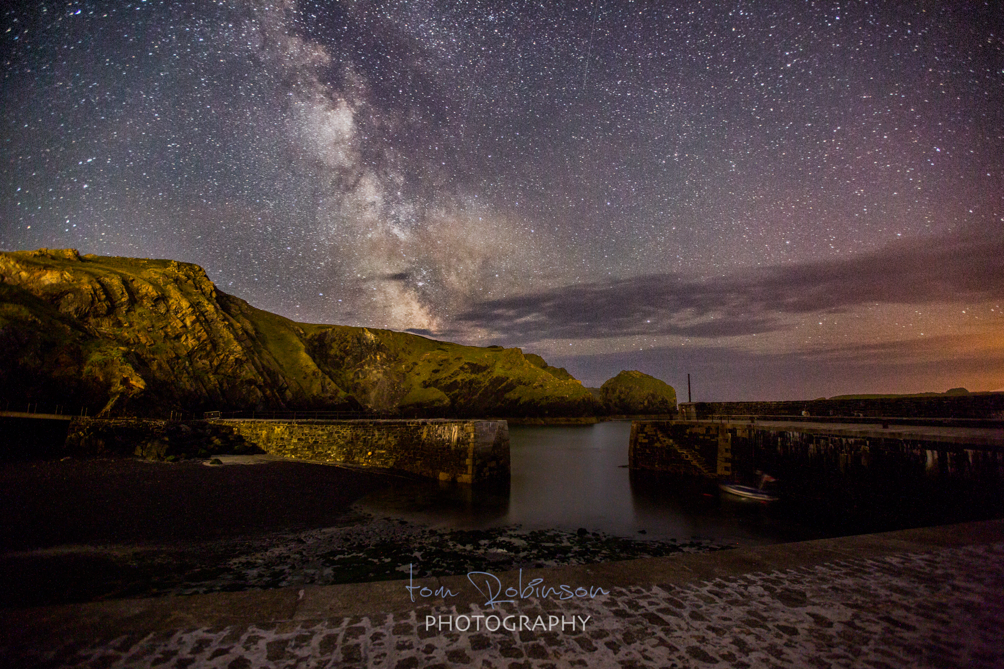 Mullion cove by night from the Cornwall by night collection by Tom Robinson Photography