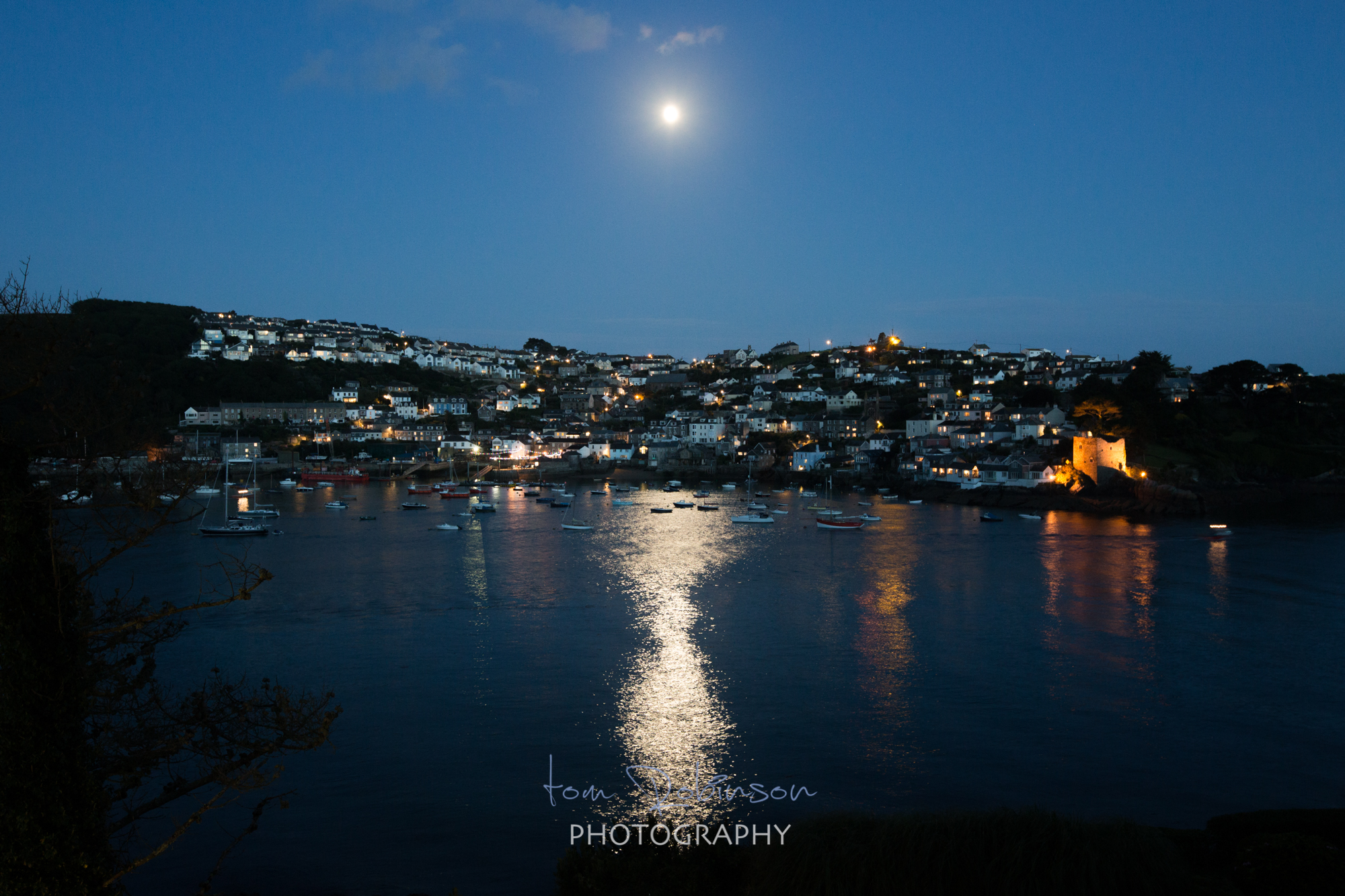 Fowey by night from the Cornwall by night collection by Tom Robinson Photography