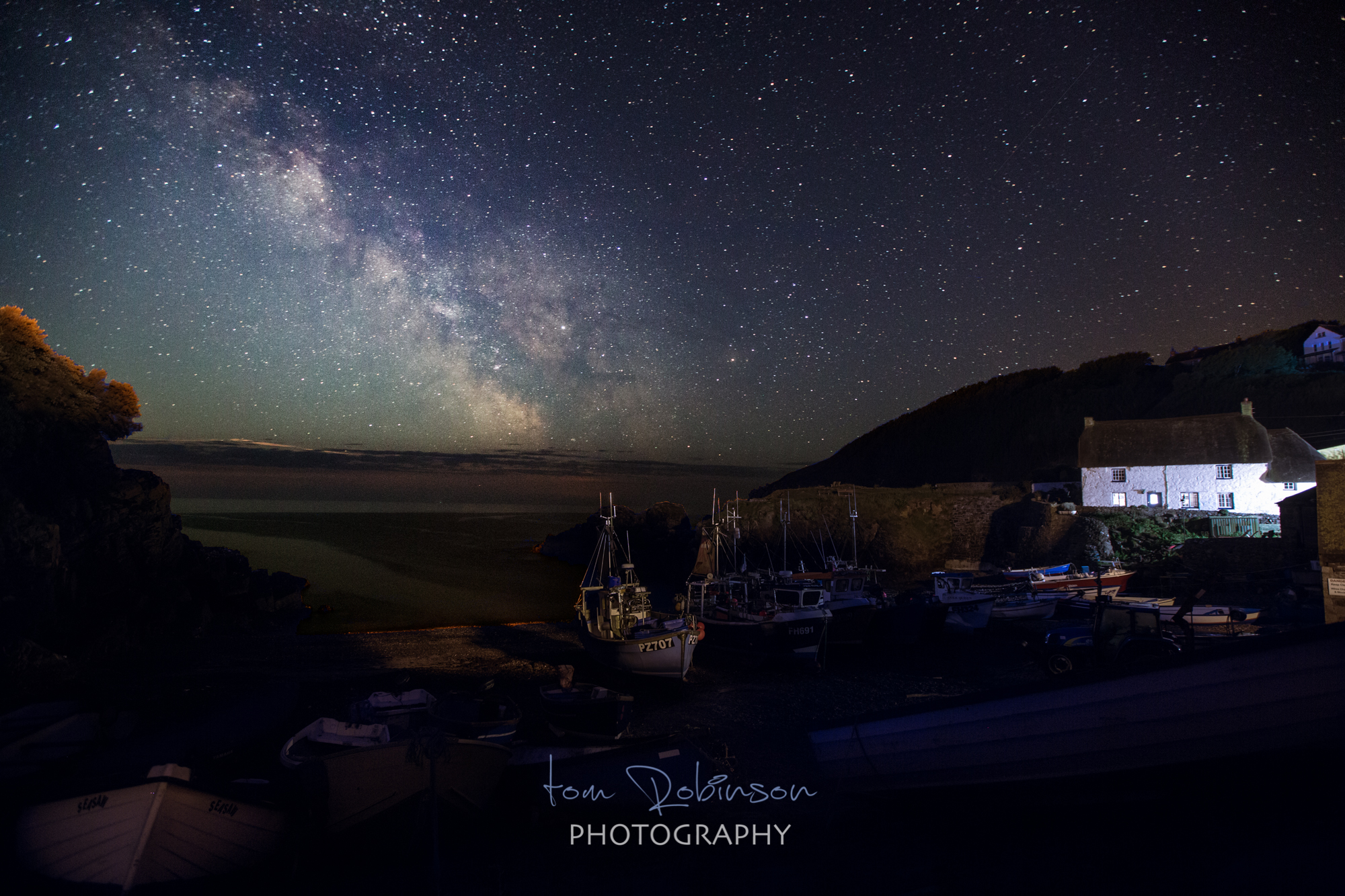 Cadgwith cove by night from the Cornwall by night collection by Tom Robinson Photography