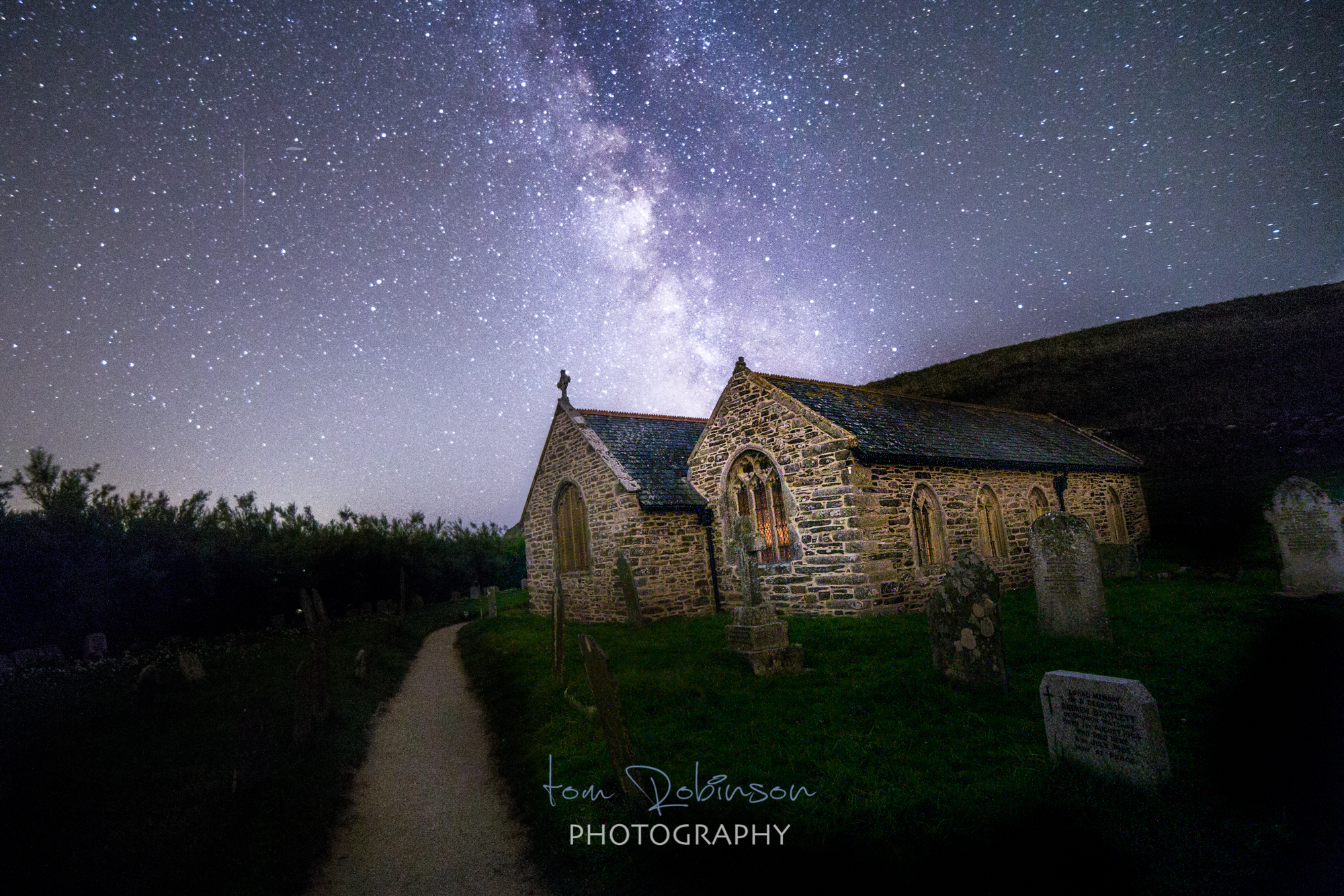 St Winwaloe church by night from the Cornwall by night collection by Tom Robinson Photography